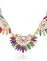 Women's Fashion Trend Color Gemstone Short Alloy Necklace