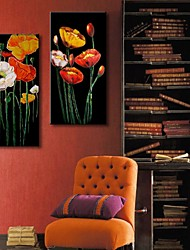 Stretched Canvas Art Blooming Flowers Set of 2