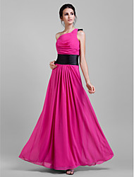Lanting Bride® Floor-length Chiffon Bridesmaid Dress - Sheath / Column One Shoulder Plus Size / Petite withDraping / Sash / Ribbon /