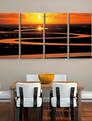 Stretched Canvas Art The Setting Sun On The River Landscape Painting Set of 4