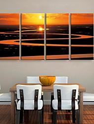 toile tendue es le soleil couchant sur la rivière la peinture de paysage ensemble de 4