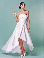 Lanting A-line/Princess Plus Sizes Wedding Dress - Ivory Asymmetrical Strapless Taffeta