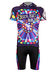 MOON Men's New Disco Anti-UV Breathable Polyester Lycra Short Sleeved Cycling Suit - Purple+Black