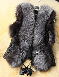 Fur Vest Sleeveless Faux Fur Collar Party/Casual Vest