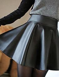 женская bouffancy равнина эластичный пояс пу юбка