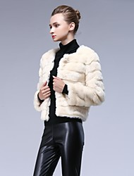 Women's Round Collar Rabbit Fur Coat