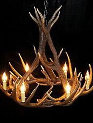 Vintage Chandelier 9 Deer Horn Resin 6 Light