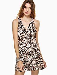 vestido de leopardo sleevless v cuello de vancoog mujeres