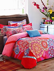 H&C ®  Thicken Cotton Sanded Fabric Duvet Cover Set  4 Pieces Flower Pattern Red Blue Multi-Color
