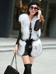 Fur Vest with Sleeveless Faux Fur Party/Casual Vest