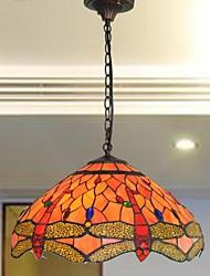 16 polegadas de design vitrais libélula 3 luzes luz pingente Tiffany