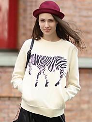 veri gude® gola redonda estilo europeu animal print moda camisola das mulheres