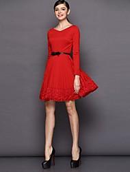 Women's Red Dress , Lace Long Sleeve