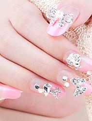 24+4PCS Elegant Rhinestone Pink Bride Style Wedding Nail Art Tips With Free Gift
