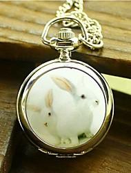 Women's Fashion Small Rabbit Enamel Quartz Movement Necklace Watch