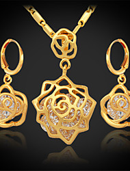 U7 Luxury 18K Gold Platinum Plated Necklace Earrings Set High Quality AAA+ Zirconia Jewelry
