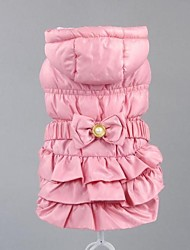 Dog Coat Pink / Beige Dog Clothes Winter Solid