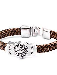tête de loup de style punk bracelet en cuir marron (1 pc)