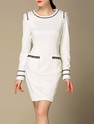 LIFVER® Women's Dresses White Stitching Round Collar Pocket of Cultivate one's Morality Dress