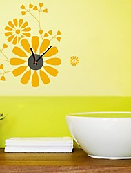 ZOOYOO® DIY yellow color Electronic battery timekeeper wall clock wall sticker home decor for you room