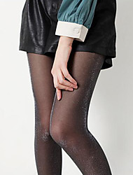 Women's Black with Silver Glitter Tight Pantyhose