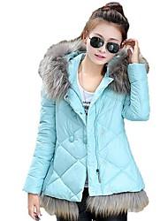 MEROKETTY®Women's Diamond Stripes Luxury Fur Collar Hooded Down Coats