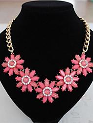 Sally Women's Temperament Diamond Beautiful Chrysanthemum Flower Gem Necklace Chain Jewelry