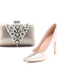 Damenschuhe Spitzschuh Pfennigabsatz Pumpen Schuhe passenden Abendtasche