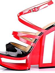 Couro Envernizado , Como na Imagem ) Sapatos de Senhora - Plataforma