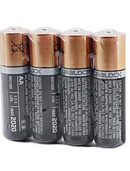 4 stuks duracell aa 1.5v alkaline batterij + doos witte