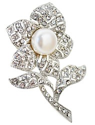 JANE STONE Women's Fashion Cute Three Colors Pearls Flower Brooches For Party
