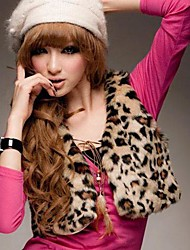 Women's Korean Fashion Leopard Print Dress Imitation Fur short Paragraph Imitation Fur Vest