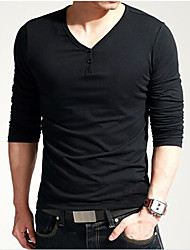 U&F Men V Neck Buckle Cotton Long Sleeve T Shirt