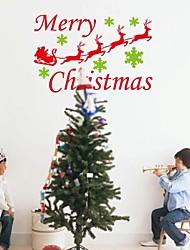 zooyoo® bonito pvc homem natal removível colorido com urso e folhas de adesivos de parede e parede decalques para a decoração da casa
