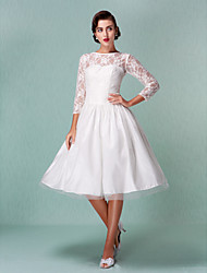 Lanting Bride A-line Petite / Plus Sizes Wedding Dress-Knee-length Bateau Lace / Tulle