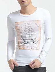 Herren T-shirt-Druck Freizeit Baumwolle / Elasthan Lang-Weiß
