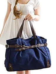 POLIS Women's Hot Sale Blue Pleat Large Canvas Shoulder Bag