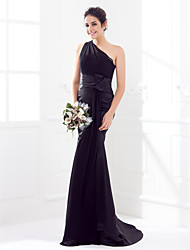 Sweep/Brush Train Satin/Georgette Bridesmaid Dress - Black Trumpet/Mermaid One Shoulder