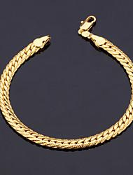 dos homens U7 ouro 18k preenchido robusto pulseira de alta qualidade com 18k selo 5 milímetros 21 centímetros