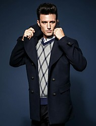 Men's Long Sleeve Regular Coat , Wool/Wool Blend Pure