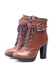 botines zapatos de moda de tacón grueso de las mujeres con cordones más colores disponibles