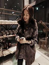 zuoge женщин корейский стиль лацкане шея свободная посадка досуг шуба