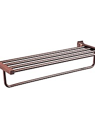 Contemporary Mirror Polished Finish Stainless Steel Material Bathroom Shelves Rose Gold