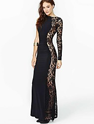 Women's Lace Black Dress , Cute/Party/Sexy/Bodycon/Casual/Lace/Maxi Bateau Long Sleeve