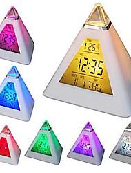 comodo 7 llevó los colores cambiantes pirámide digital del despertador termómetro calendario de noche en forma de