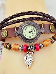Women's Fashion Colorful Wood Bead Panda Leather Bracelet Watch(Assorted colors)