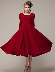 vestido midi oscilación vino patrón de arco redondo de la mujer