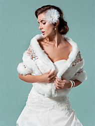 Short Sleeve Faux Fur And Lace Wedding/Special Occasion Shawls