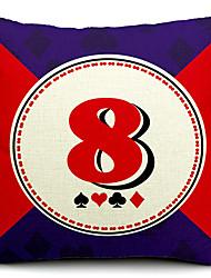 cartes à jouer numéro 8 coton / lin taie d'oreiller décoratif