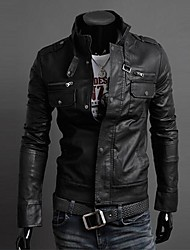vários zipper jaquetas de couro colar motocicleta dos homens